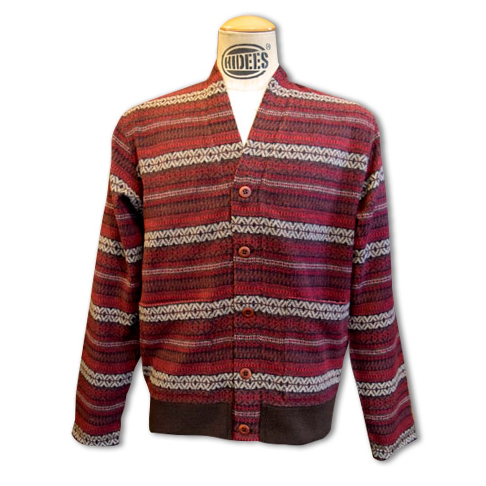 ANDFAMILY'S/  V-Neck Wool Cardigan, Bordeaux