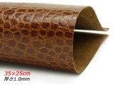 【在庫処分品】【切り革】ピッグ型押し レプタイルスキン ブラウン 35×25cm 0.6mm