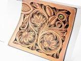 【図案】ロングウォレット用トリプルフラワー(シェリダンカービング) 図案部分 約18×18cm