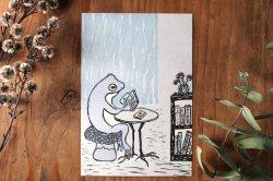 トケ/ポストカード「雨音と読書」