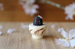 【受注制作】Ω社/お花見日和「桜の豆猫茶」(黒)