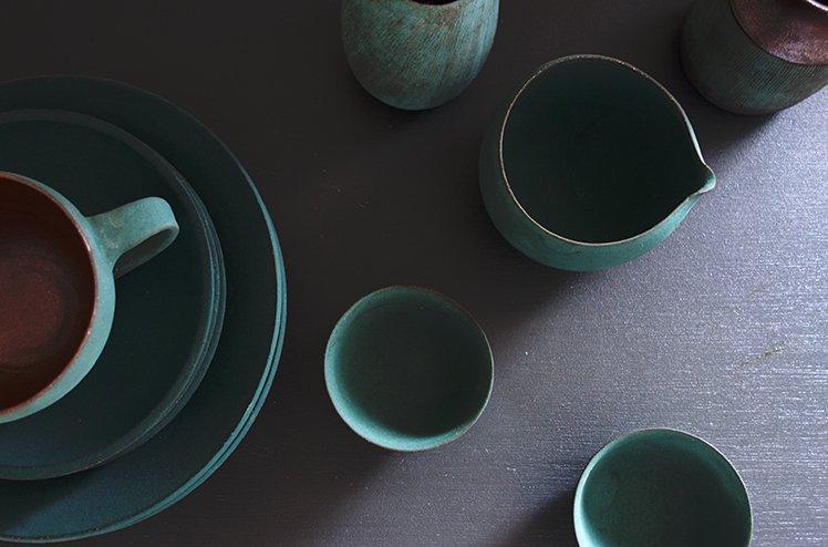 陶器・片口酒器セット(錆浅葱)[今井梨絵]
