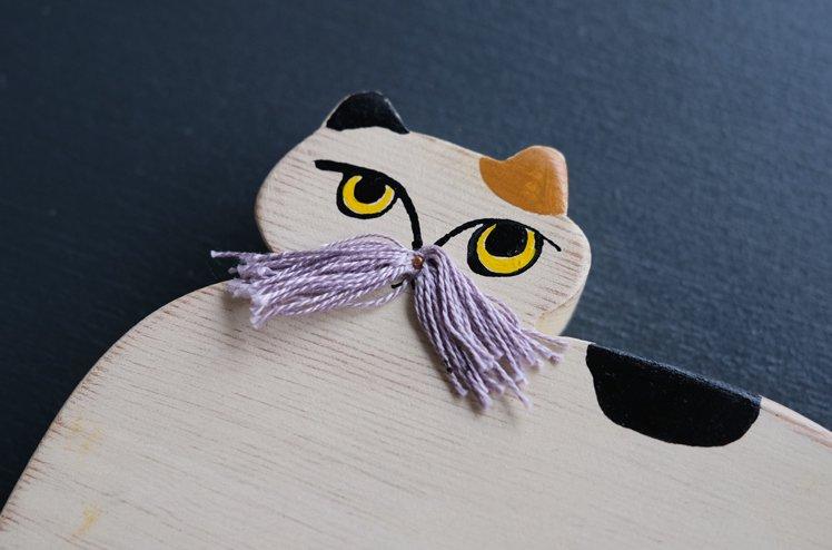 木のオブジェ「Hige cat」 [marini*monteany]
