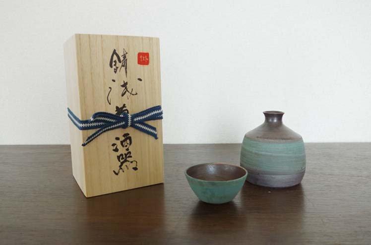 陶器・酒器セット「錆浅葱酒器」[今井梨絵]