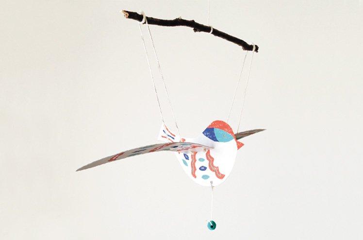モビール・Bird 赤(medium size)[すぎはらけいたろう]