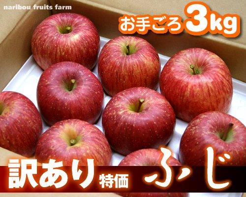 味が濃い!訳あり りんご 『ふじ』 3kg 【大特価】