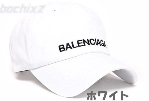 <img class='new_mark_img1' src='https://img.shop-pro.jp/img/new/icons6.gif' style='border:none;display:inline;margin:0px;padding:0px;width:auto;' />balenciagaロゴ風パロディ帽子 キャップ K-POP韓国ファッション ホワイト ★即納
