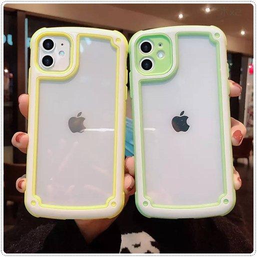 <img class='new_mark_img1' src='https://img.shop-pro.jp/img/new/icons6.gif' style='border:none;display:inline;margin:0px;padding:0px;width:auto;' />かわいい キャンディーカラー 耐震バンパーシリコンフレームスマホケース iPhone7〜12  ★取寄せ
