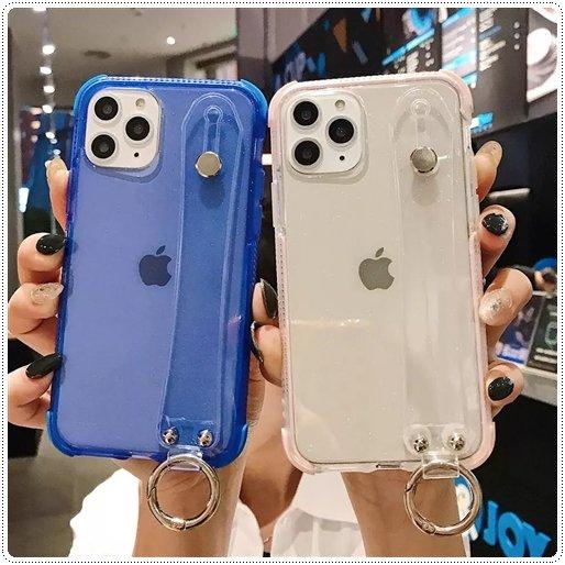 <img class='new_mark_img1' src='https://img.shop-pro.jp/img/new/icons6.gif' style='border:none;display:inline;margin:0px;padding:0px;width:auto;' />リストストラップ付 クリアカラー スマホケース iPhone7〜12  ★取寄せ