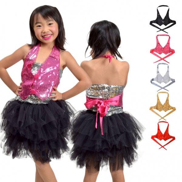 ★DF31101 スパンホルターベスト★キッズ ダンス|子供 ダンス|発表会|お遊戯会 衣装