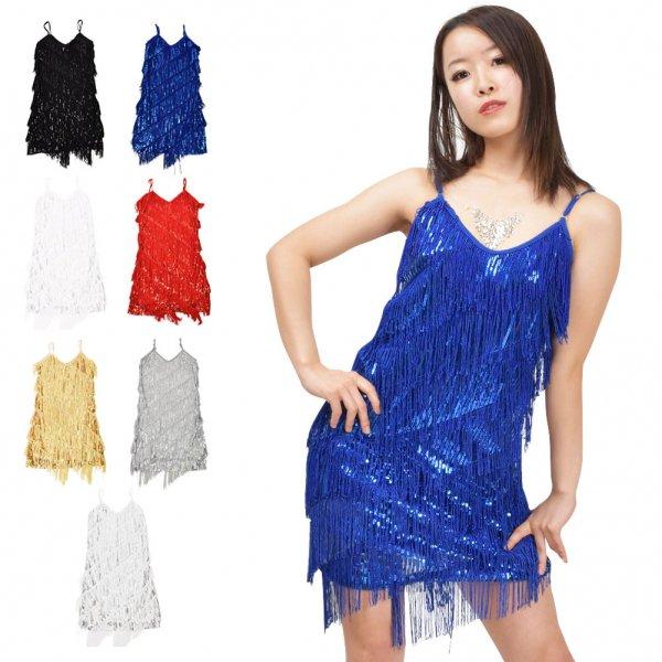 ■FI0412 スパンコールフリンジショートドレス■スパンコール ダンス衣装||コスプレ 衣装|ステージ衣装