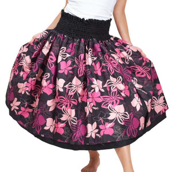 ■JA5793 フラ パウスカート ブラック×ピンク  |フラダンス 衣装|フラダンス ドレス|ムームー