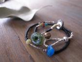 Romanglass + Black Old Beads Anklet