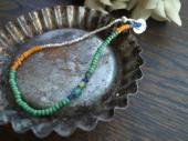Old glass beads + Silver beads anklet