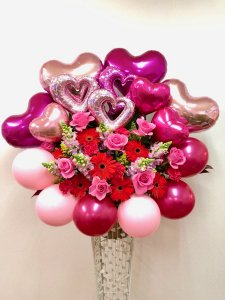 バルーンとお花のスタンド「キュートカラーミックス」