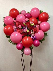 バルーンとお花のスタンド「ハート」