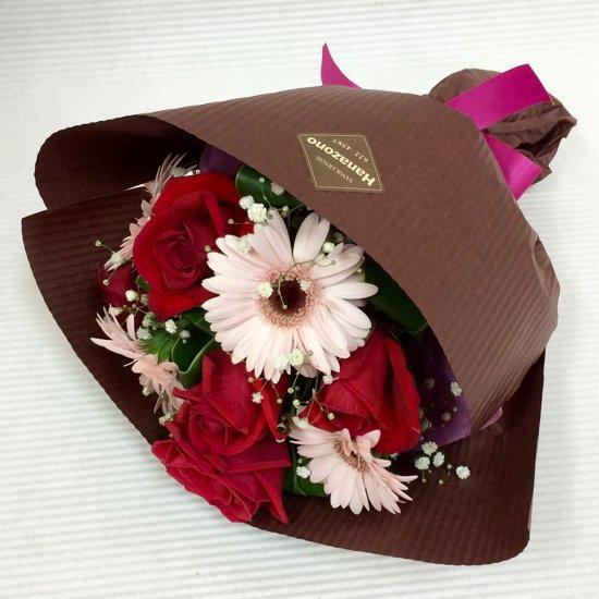 花束「バラとガーベラのショートブーケ」 , 山形の老舗お花屋さんのオンラインショップ「HANAZONO ,ハナゾノ,」