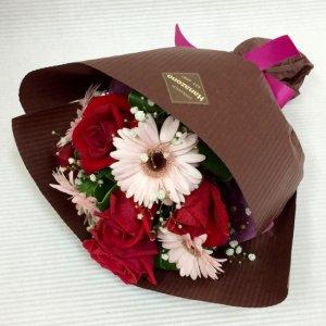 花束「バラとガーベラのショートブーケ」