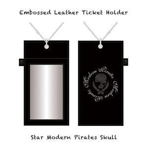 【 Embossed Leather Ticket Holder/Star Modern Pirates Skull 】