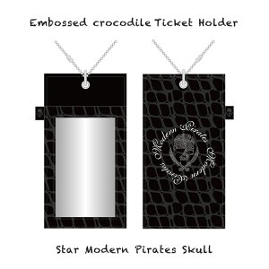 【 Embossed crocodile Ticket Holder/Star Modern Pirates Skull 】