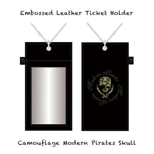【 Embossed Leather Ticket Holder/Camouflage Modern Pirates Skull 】
