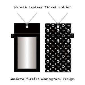 【 Smooth Leather Ticket Holder/Modern Pirates Monogram Design 】