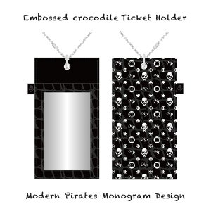 【 Embossed crocodile Ticket Holder/Modern Pirates Monogram Design 】