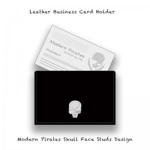 【 Leather Business Card Holder / Modern Pirates Skull Face Studs Design 】