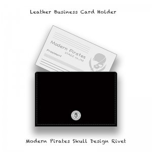 【 Leather Business Card Holder / Modern Pirates Skull Design Rivet 】