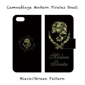 【 Smartphone Diary Case/Camouflage Modern Pirates Skull (Black) 】