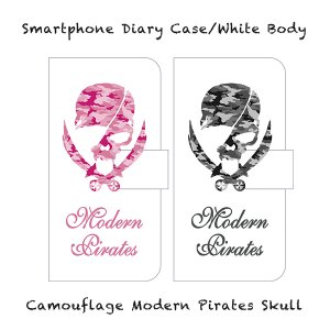 <img class='new_mark_img1' src='//img.shop-pro.jp/img/new/icons13.gif' style='border:none;display:inline;margin:0px;padding:0px;width:auto;' />【 Smartphone Diary Case/Camouflage Modern Pirates Skull (White) 】