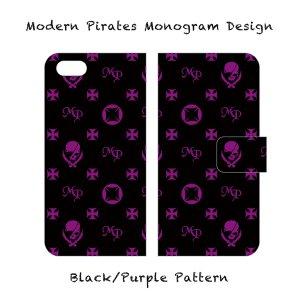【 Smartphone Diary Case/Modern Pirates Monogram Design (Black) 】