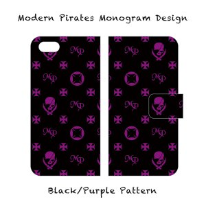 【 Smartphone Diary Case/Modern Pirates Monogram Design (Black) 】