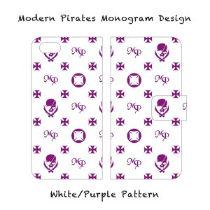 【 Smartphone Diary Case/Modern Pirates Monogram Design (White) 】