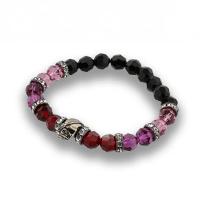 【 SKULL & BALL SWAROVSKI BEADED BRACELET(8MM) 】