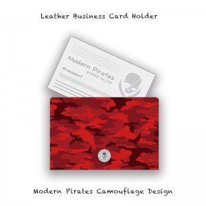 【 Leather Business Card Holder / Modern Pirates Camouflage Design 】