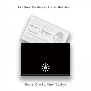 【 Leather Business Card Holder / Studs Circle Star Design 】
