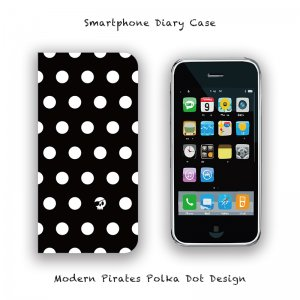 【 Smartphone Diary Case / Modern Pirates Polka Dot Design 】