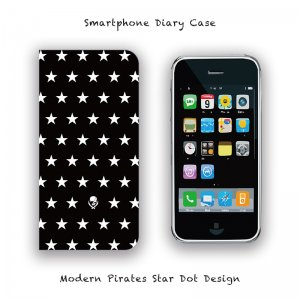 【 Smartphone Diary Case / Modern Pirates Star Dot Design 】