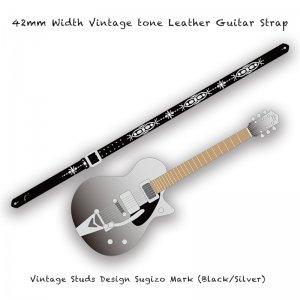 【 42mm Width Vintage tone Leather Guitar Strap / Vintage Studs Design 004 】( SUGIZO Model )