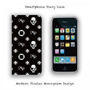 【 Smartphone Diary Case / Modern Pirates Monogram Design 】