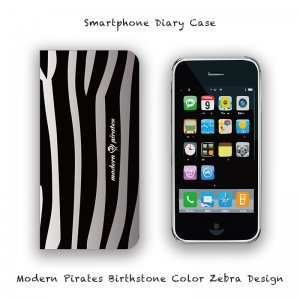 【 Smartphone Diary Case / Modern Pirates Birthstone Color Zebra Design 】