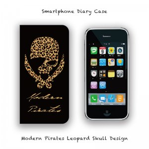 <img class='new_mark_img1' src='//img.shop-pro.jp/img/new/icons13.gif' style='border:none;display:inline;margin:0px;padding:0px;width:auto;' />【 Smartphone Diary Case / Modern Pirates Leopard Skull Design 】