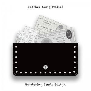 【 Leather Long Wallet /  Bordering Studs  Design 】