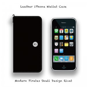 【 Leather iPhone Wallet Case / Modern Pirates Skull Design Rivet 】
