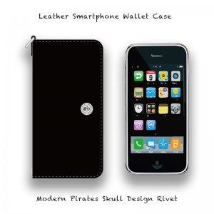 【 Leather Smartphone Wallet Case / Modern Pirates Skull Design Rivet 】