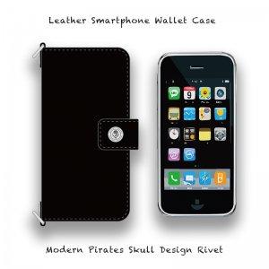 【 Leather Smartphone Wallet Case / Modern Pirates Skull Design Rivet 】( Hook Type )
