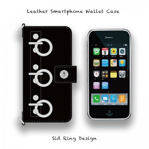 【 Leather Smartphone Wallet Case / Sid Ring Design 】( Hook Type )