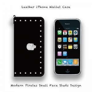 【 Leather iPhone Wallet Case / Modern Pirates Skull Face Studs Design 】