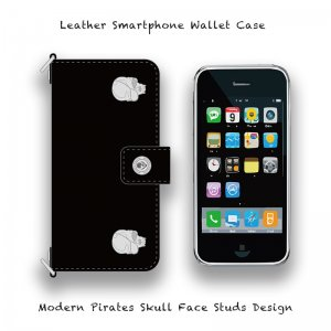【 Leather Smartphone Wallet Case / Modern Pirates Skull Two Face Studs Design 】( Hook Type )